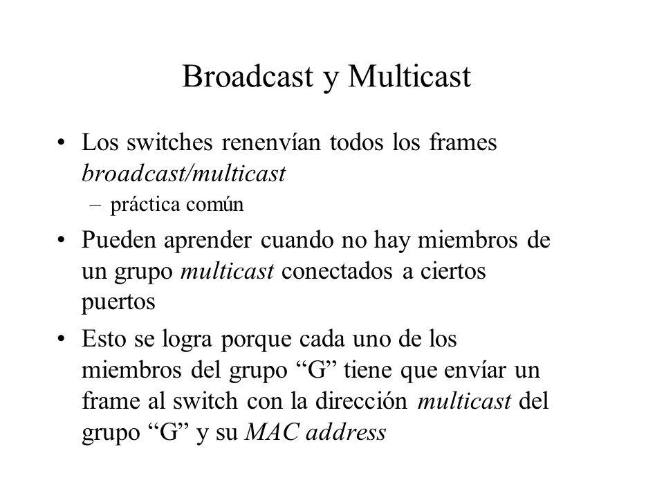 Broadcast y Multicast Los switches renenvían todos los frames broadcast/multicast –práctica común Pueden aprender cuando no hay miembros de un grupo m