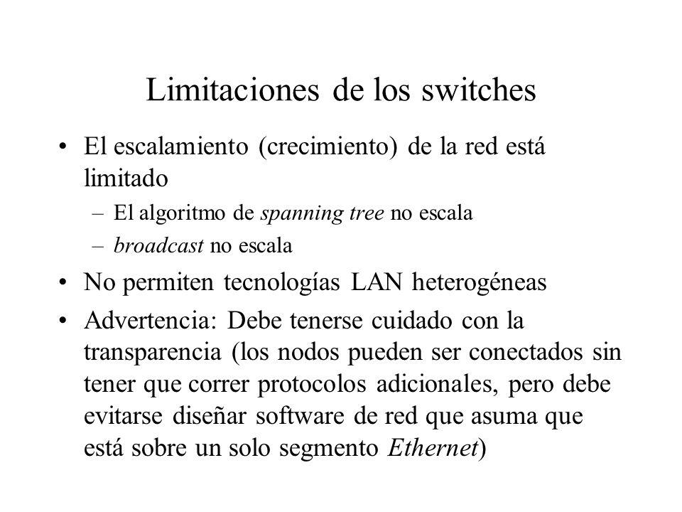 Limitaciones de los switches El escalamiento (crecimiento) de la red está limitado –El algoritmo de spanning tree no escala –broadcast no escala No pe