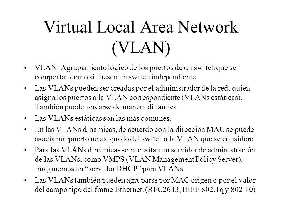 Virtual Local Area Network (VLAN) VLAN: Agrupamiento lógico de los puertos de un switch que se comportan como si fuesen un switch independiente. Las V