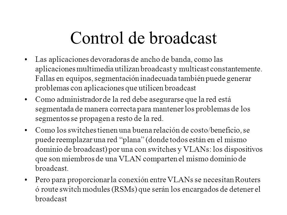 Control de broadcast Las aplicaciones devoradoras de ancho de banda, como las aplicaciones multimedia utilizan broadcast y multicast constantemente. F
