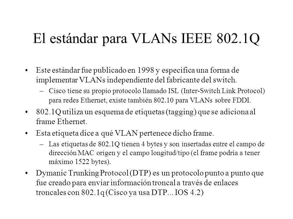 El estándar para VLANs IEEE 802.1Q Este estándar fue publicado en 1998 y especifica una forma de implementar VLANs independiente del fabricante del sw