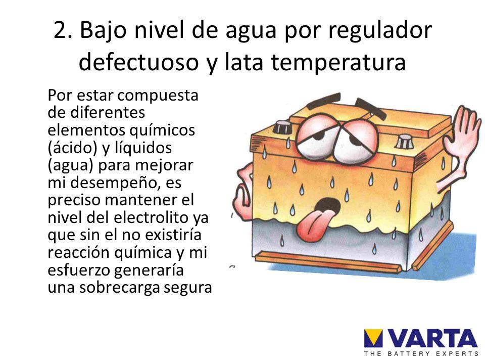 2. Bajo nivel de agua por regulador defectuoso y lata temperatura Por estar compuesta de diferentes elementos químicos (ácido) y líquidos (agua) para