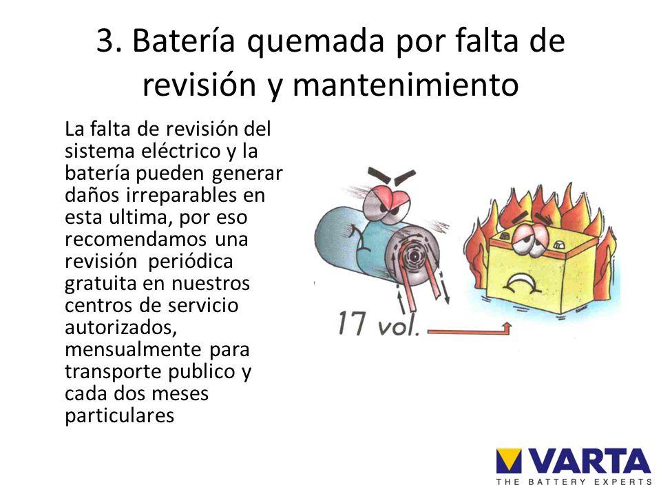 3. Batería quemada por falta de revisión y mantenimiento La falta de revisión del sistema eléctrico y la batería pueden generar daños irreparables en