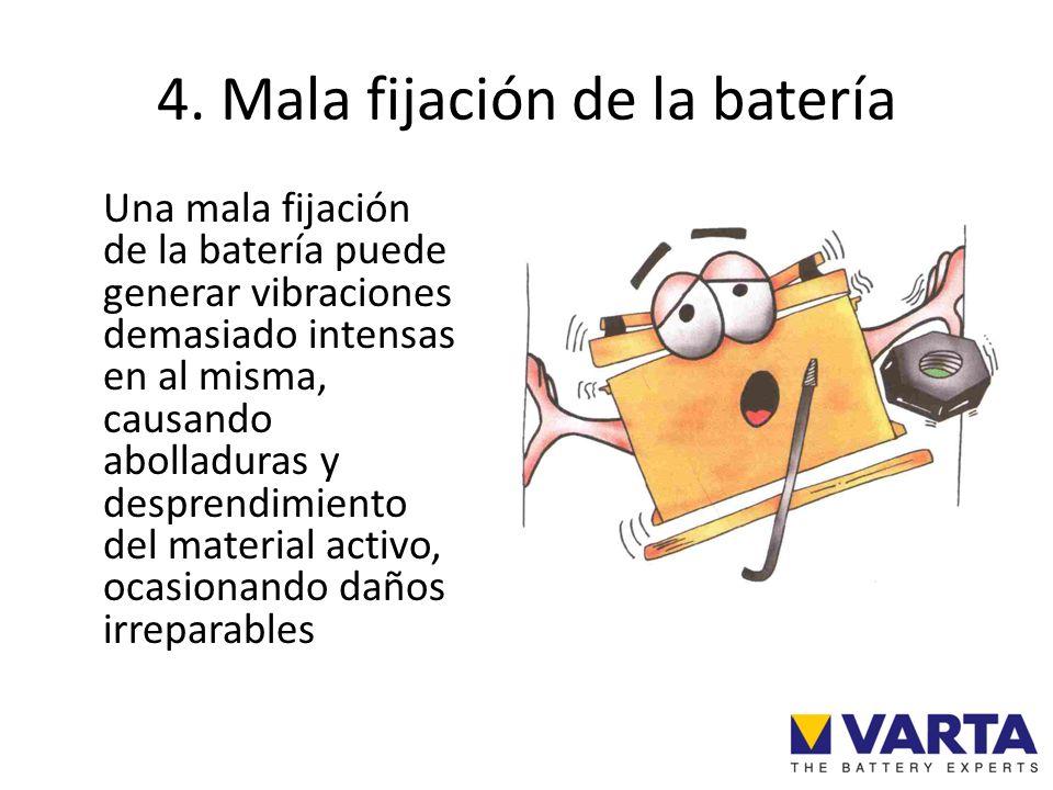 4. Mala fijación de la batería Una mala fijación de la batería puede generar vibraciones demasiado intensas en al misma, causando abolladuras y despre