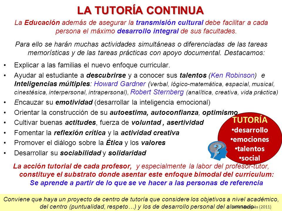Conviene que haya un proyecto de centro de tutoría que considere los objetivos a nivel académico, del centro (puntualidad, respeto…) y los de desarrol