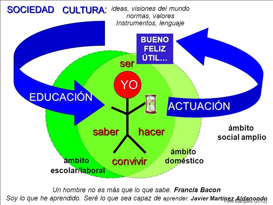 YO CULTURA : ideas, visiones del mundo normas, valores Instrumentos, lenguaje convivir ser hacersaber ámbito doméstico ámbito escolar/laboral ámbito s