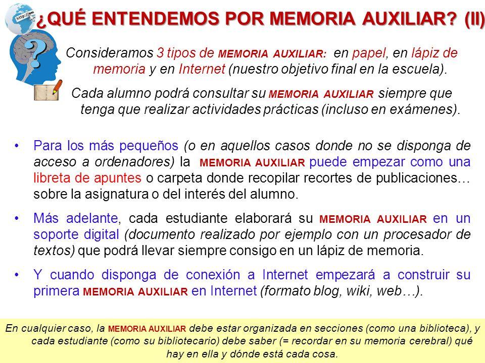 Consideramos 3 tipos de MEMORIA AUXILIAR: en papel, en lápiz de memoria y en Internet (nuestro objetivo final en la escuela). Cada alumno podrá consul