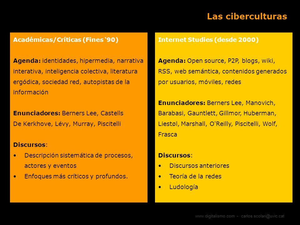 www.digitalismo.com - carlos.scolari@uvic.cat Las ciberculturas Académicas/Críticas (Fines 90) Agenda: identidades, hipermedia, narrativa interativa,