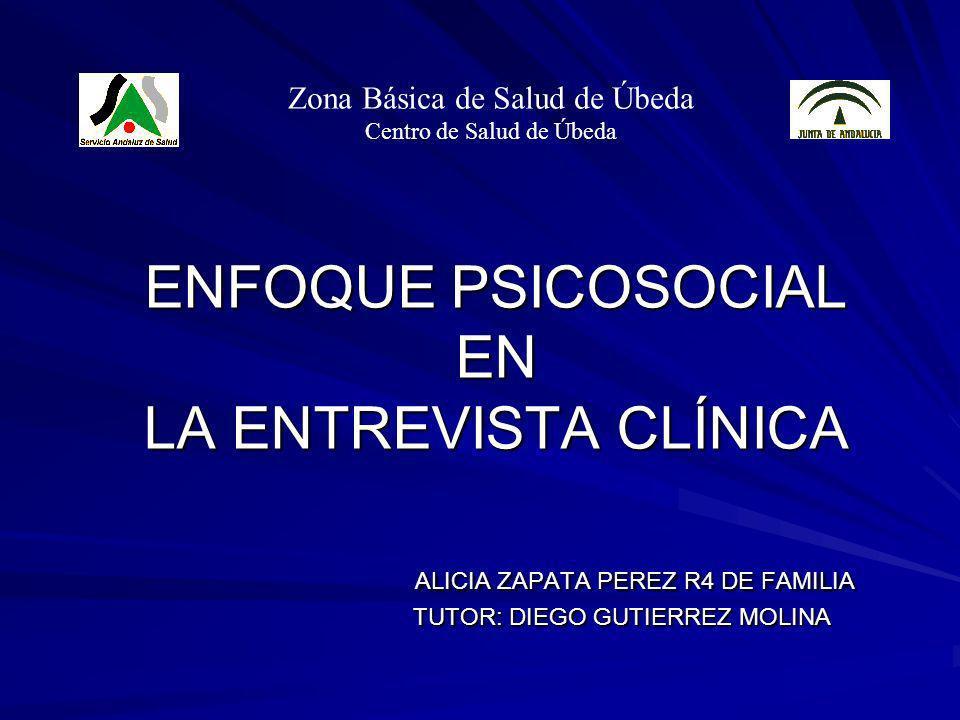 ENFOQUE PSICOSOCIAL EN LA ENTREVISTA CLÍNICA ALICIA ZAPATA PEREZ R4 DE FAMILIA TUTOR: DIEGO GUTIERREZ MOLINA Zona Básica de Salud de Úbeda Centro de S
