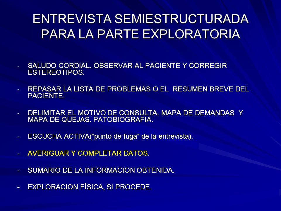 ENTREVISTA SEMIESTRUCTURADA PARA LA PARTE EXPLORATORIA - SALUDO CORDIAL. OBSERVAR AL PACIENTE Y CORREGIR ESTEREOTIPOS. - REPASAR LA LISTA DE PROBLEMAS
