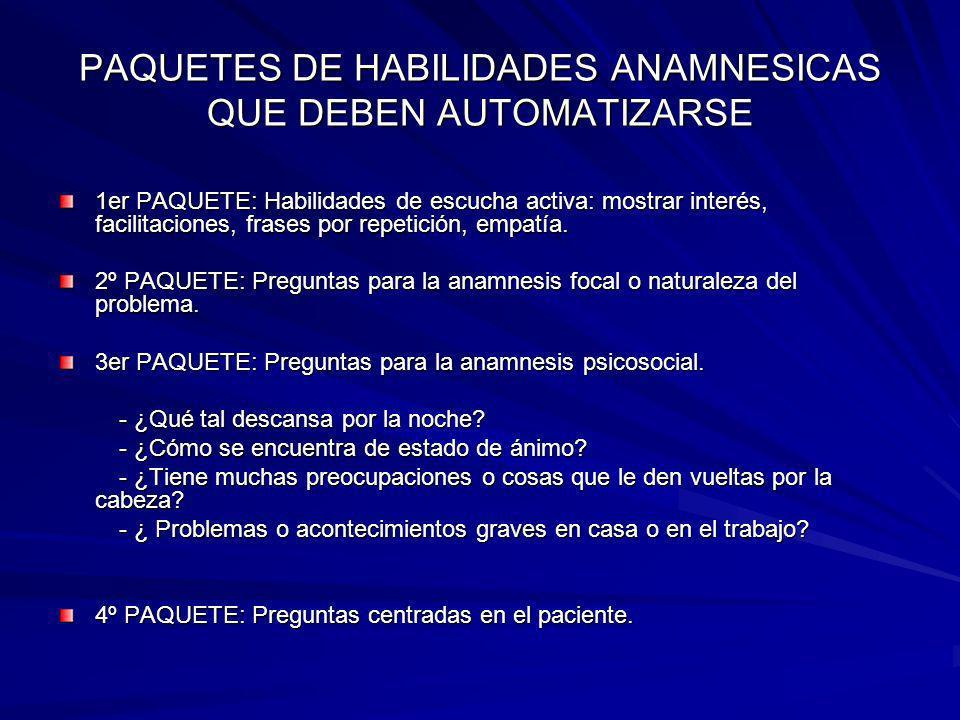 PAQUETES DE HABILIDADES ANAMNESICAS QUE DEBEN AUTOMATIZARSE 1er PAQUETE: Habilidades de escucha activa: mostrar interés, facilitaciones, frases por re