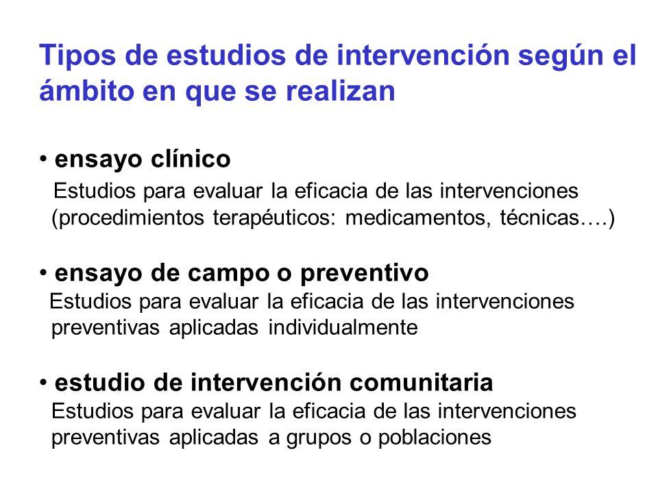 Tipos de estudios de intervención según el ámbito en que se realizan ensayo clínico Estudios para evaluar la eficacia de las intervenciones (procedimi