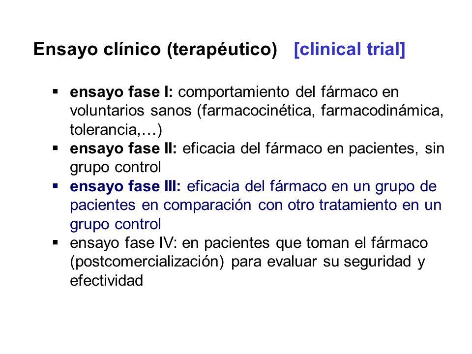 Ensayo clínico (terapéutico) [clinical trial] ensayo fase I: comportamiento del fármaco en voluntarios sanos (farmacocinética, farmacodinámica, tolera