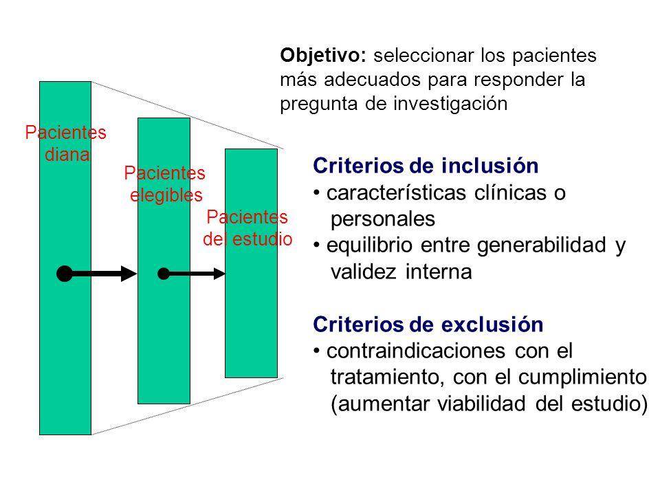 Pacientes del estudio Pacientes diana Pacientes elegibles Criterios de inclusión características clínicas o personales equilibrio entre generabilidad