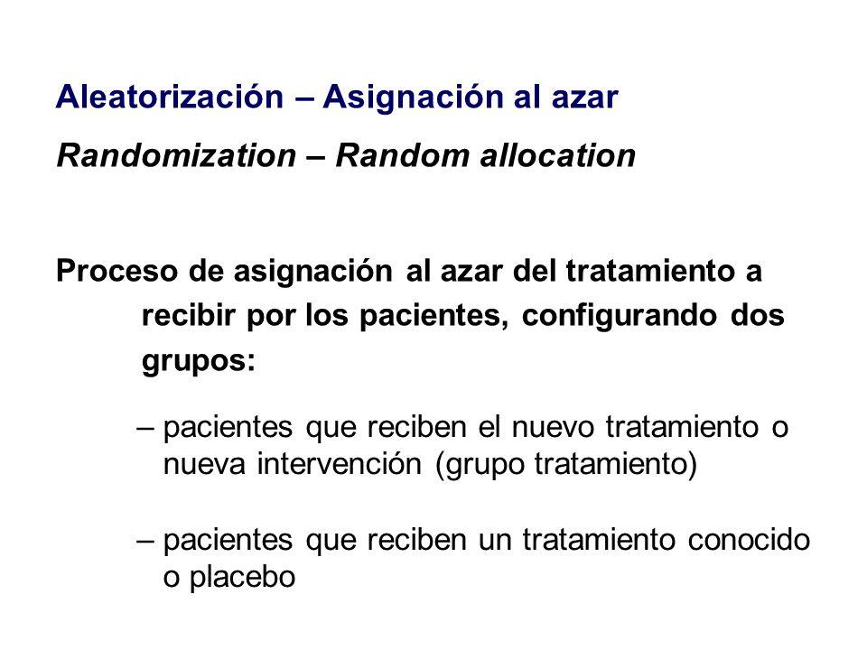 Aleatorización – Asignación al azar Randomization – Random allocation Proceso de asignación al azar del tratamiento a recibir por los pacientes, confi