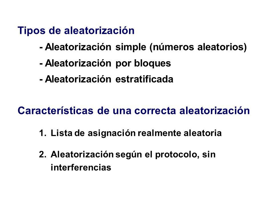 Tipos de aleatorización - Aleatorización simple (números aleatorios) - Aleatorización por bloques - Aleatorización estratificada Características de un