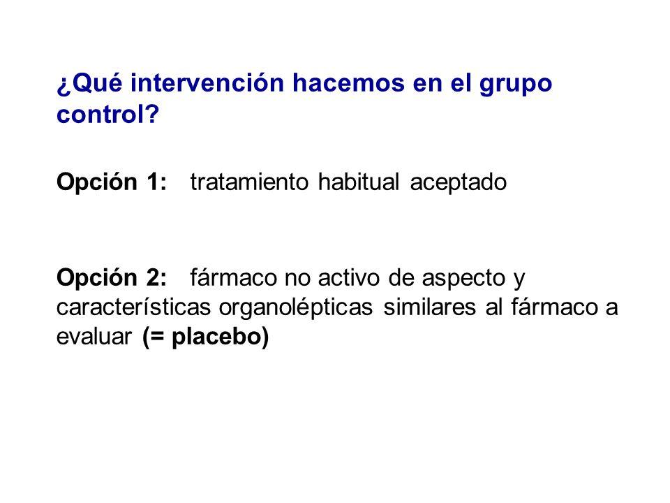 ¿Qué intervención hacemos en el grupo control? Opción 1: tratamiento habitual aceptado Opción 2: fármaco no activo de aspecto y características organo