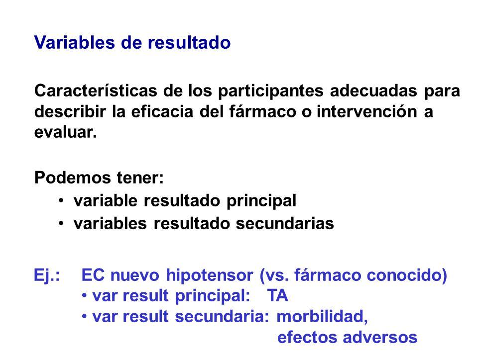 Variables de resultado Características de los participantes adecuadas para describir la eficacia del fármaco o intervención a evaluar. Podemos tener: