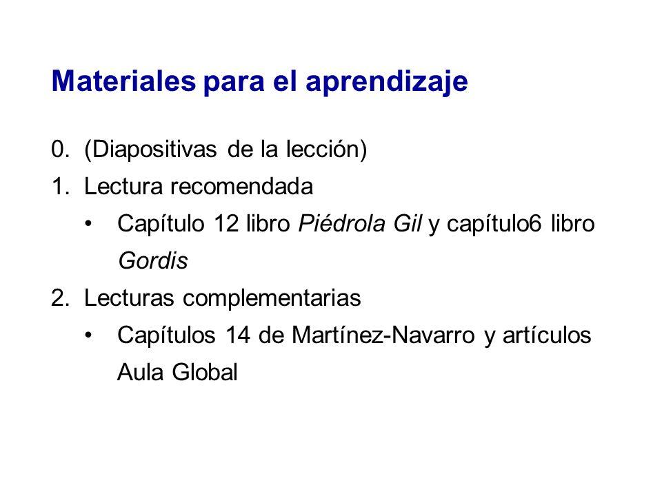 Materiales para el aprendizaje 0.(Diapositivas de la lección) 1.Lectura recomendada Capítulo 12 libro Piédrola Gil y capítulo6 libro Gordis 2.Lecturas