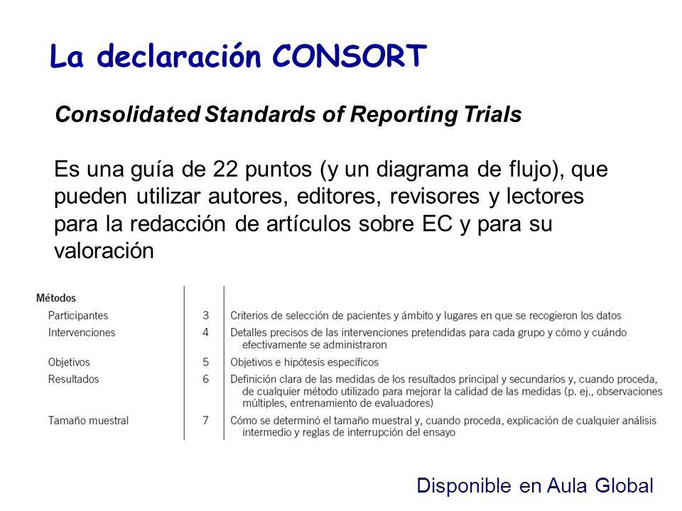 La declaración CONSORT Consolidated Standards of Reporting Trials Es una guía de 22 puntos (y un diagrama de flujo), que pueden utilizar autores, edit
