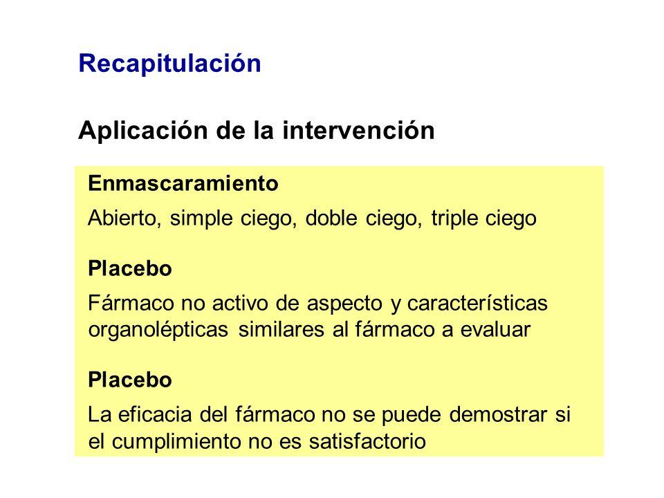 Recapitulación Aplicación de la intervención Enmascaramiento Abierto, simple ciego, doble ciego, triple ciego Placebo Fármaco no activo de aspecto y c