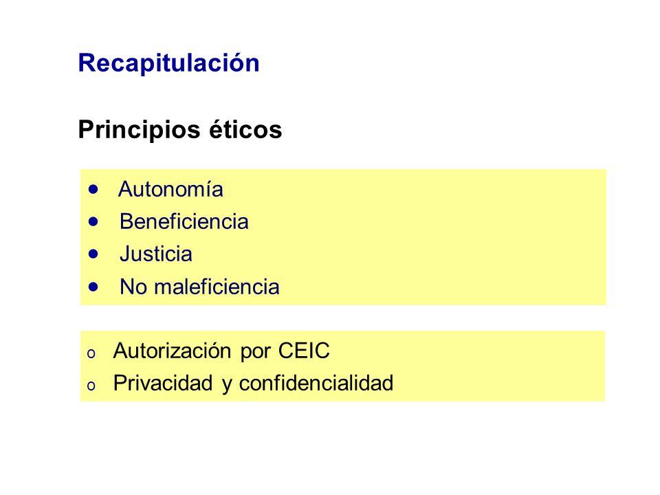 Recapitulación Principios éticos Autonomía Beneficiencia Justicia No maleficiencia o Autorización por CEIC o Privacidad y confidencialidad