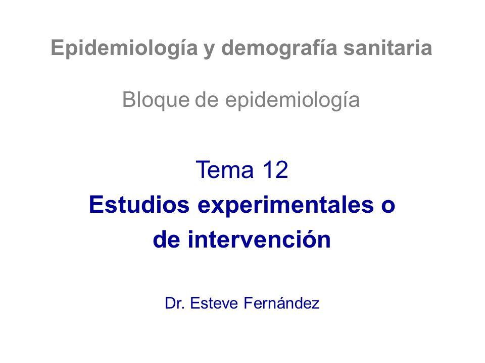 Epidemiología y demografía sanitaria Bloque de epidemiología Tema 12 Estudios experimentales o de intervención Dr. Esteve Fernández