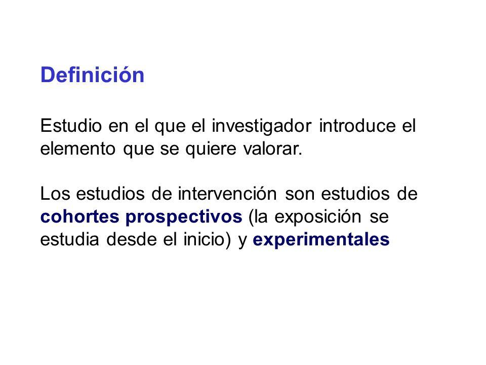 Definición Estudio en el que el investigador introduce el elemento que se quiere valorar. Los estudios de intervención son estudios de cohortes prospe