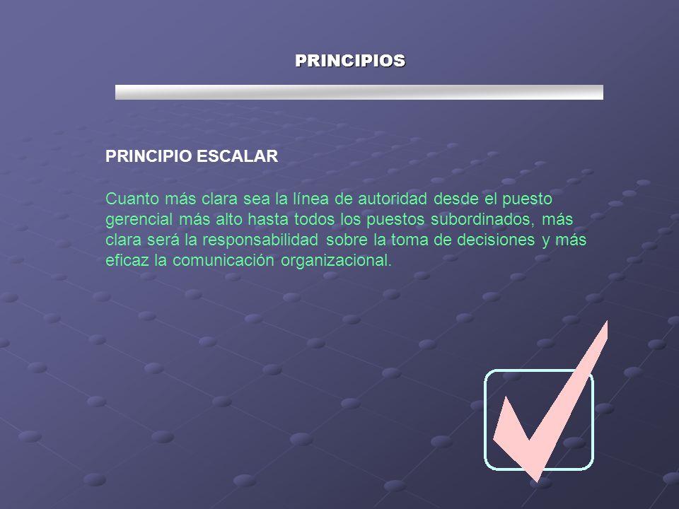 PRINCIPIOS PRINCIPIO ESCALAR Cuanto más clara sea la línea de autoridad desde el puesto gerencial más alto hasta todos los puestos subordinados, más c