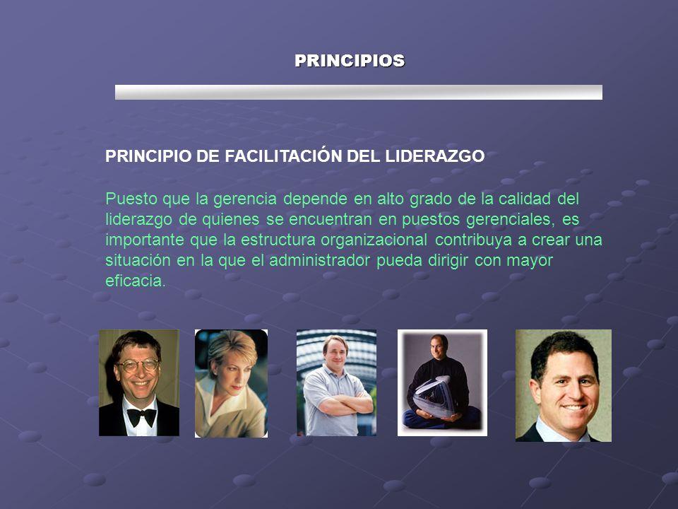 PRINCIPIOS PRINCIPIO DE FACILITACIÓN DEL LIDERAZGO Puesto que la gerencia depende en alto grado de la calidad del liderazgo de quienes se encuentran e