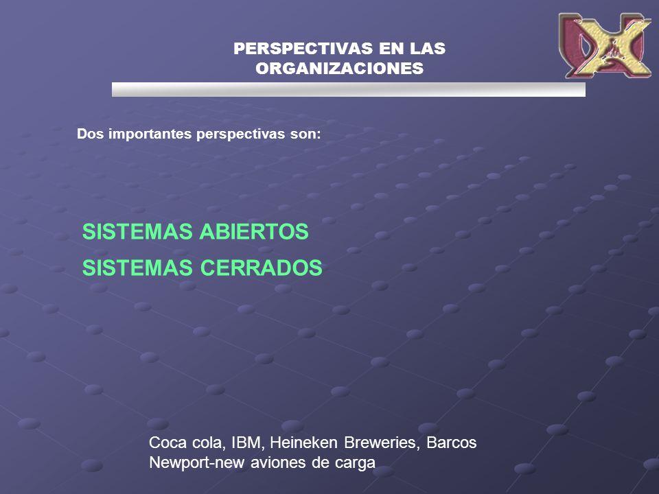 Dos importantes perspectivas son: PERSPECTIVAS EN LAS ORGANIZACIONES SISTEMAS ABIERTOS SISTEMAS CERRADOS Coca cola, IBM, Heineken Breweries, Barcos Ne