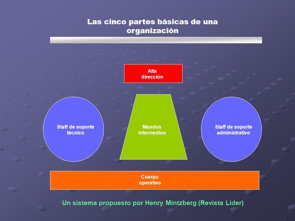 Las cinco partes básicas de una organización Staff de soporte técnico Staff de soporte administrativo Cuerpo operativo Mandos Intermedios Alta direcci