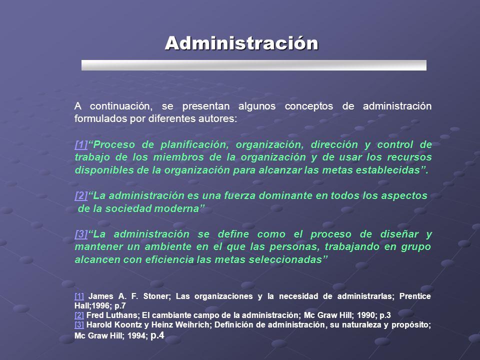 A continuación, se presentan algunos conceptos de administración formulados por diferentes autores: [1][1]Proceso de planificación, organización, dire