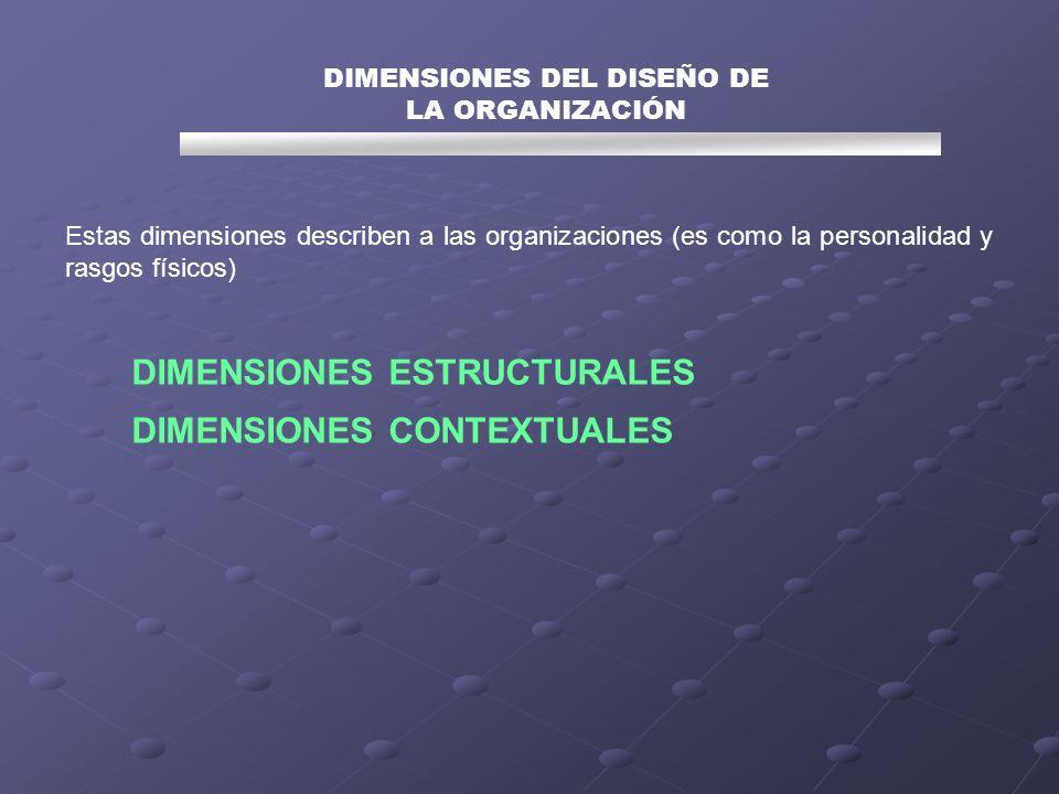Estas dimensiones describen a las organizaciones (es como la personalidad y rasgos físicos) DIMENSIONES DEL DISEÑO DE LA ORGANIZACIÓN DIMENSIONES ESTR