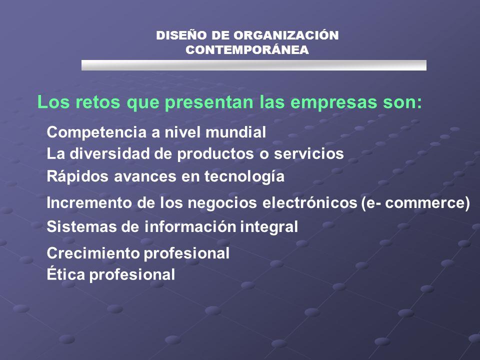 Los retos que presentan las empresas son: DISEÑO DE ORGANIZACIÓN CONTEMPORÁNEA Competencia a nivel mundial La diversidad de productos o servicios Rápi