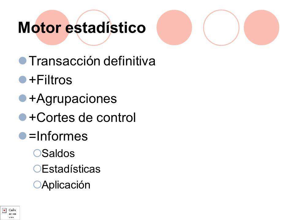 Motor estadístico Transacción definitiva +Filtros +Agrupaciones +Cortes de control =Informes Saldos Estadísticas Aplicación