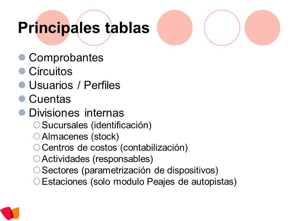 Principales tablas Comprobantes Circuitos Usuarios / Perfiles Cuentas Divisiones internas Sucursales (identificación) Almacenes (stock) Centros de cos