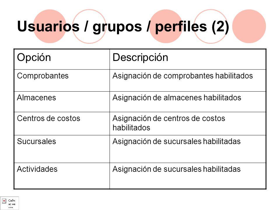 Usuarios / grupos / perfiles (2) OpciónDescripción ComprobantesAsignación de comprobantes habilitados AlmacenesAsignación de almacenes habilitados Cen