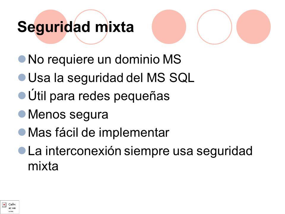 Seguridad mixta No requiere un dominio MS Usa la seguridad del MS SQL Útil para redes pequeñas Menos segura Mas fácil de implementar La interconexión