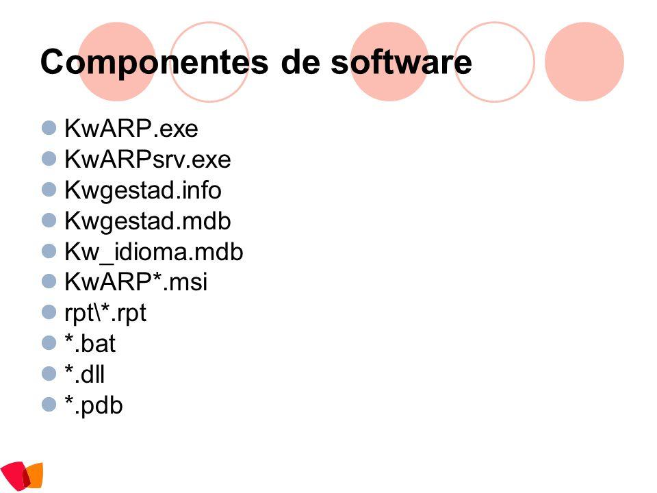 Componentes de software KwARP.exe KwARPsrv.exe Kwgestad.info Kwgestad.mdb Kw_idioma.mdb KwARP*.msi rpt\*.rpt *.bat *.dll *.pdb