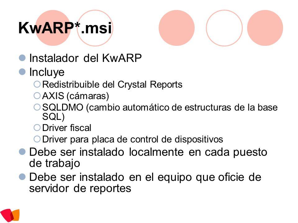 KwARP*.msi Instalador del KwARP Incluye Redistribuible del Crystal Reports AXIS (cámaras) SQLDMO (cambio automático de estructuras de la base SQL) Dri