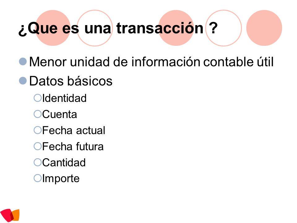 ¿Que es una transacción ? Menor unidad de información contable útil Datos básicos Identidad Cuenta Fecha actual Fecha futura Cantidad Importe