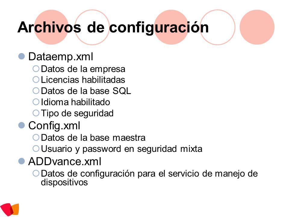 Archivos de configuración Dataemp.xml Datos de la empresa Licencias habilitadas Datos de la base SQL Idioma habilitado Tipo de seguridad Config.xml Da