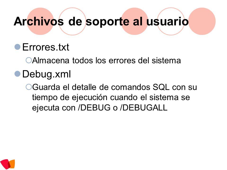 Archivos de soporte al usuario Errores.txt Almacena todos los errores del sistema Debug.xml Guarda el detalle de comandos SQL con su tiempo de ejecuci