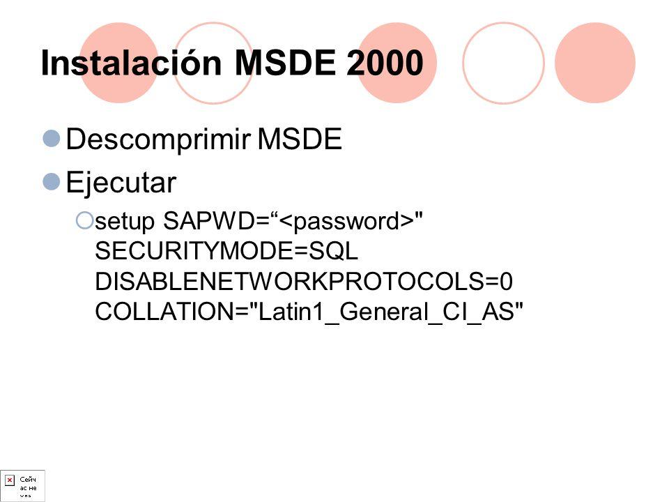 Instalación MSDE 2000 Descomprimir MSDE Ejecutar setup SAPWD=