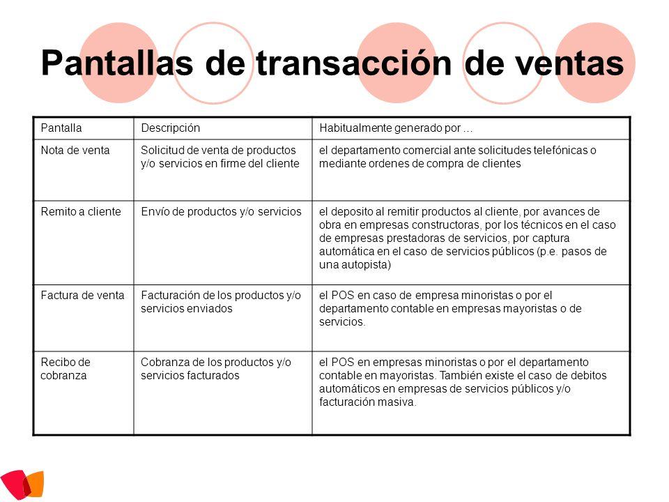 Pantallas de transacciones varias PantallaDescripciónHabitualmente generado por … Asiento contableRegistración contableel departamento contable o automáticamente por los módulos de registración automática del sistema en base a transacciones.