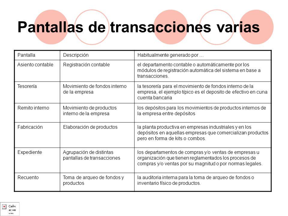 Pantallas de transacciones varias PantallaDescripciónHabitualmente generado por … Asiento contableRegistración contableel departamento contable o auto