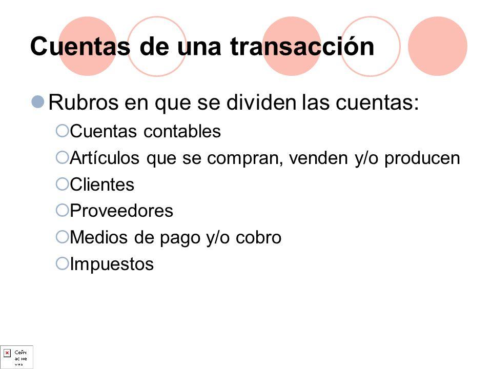 Cuentas de una transacción Rubros en que se dividen las cuentas: Cuentas contables Artículos que se compran, venden y/o producen Clientes Proveedores