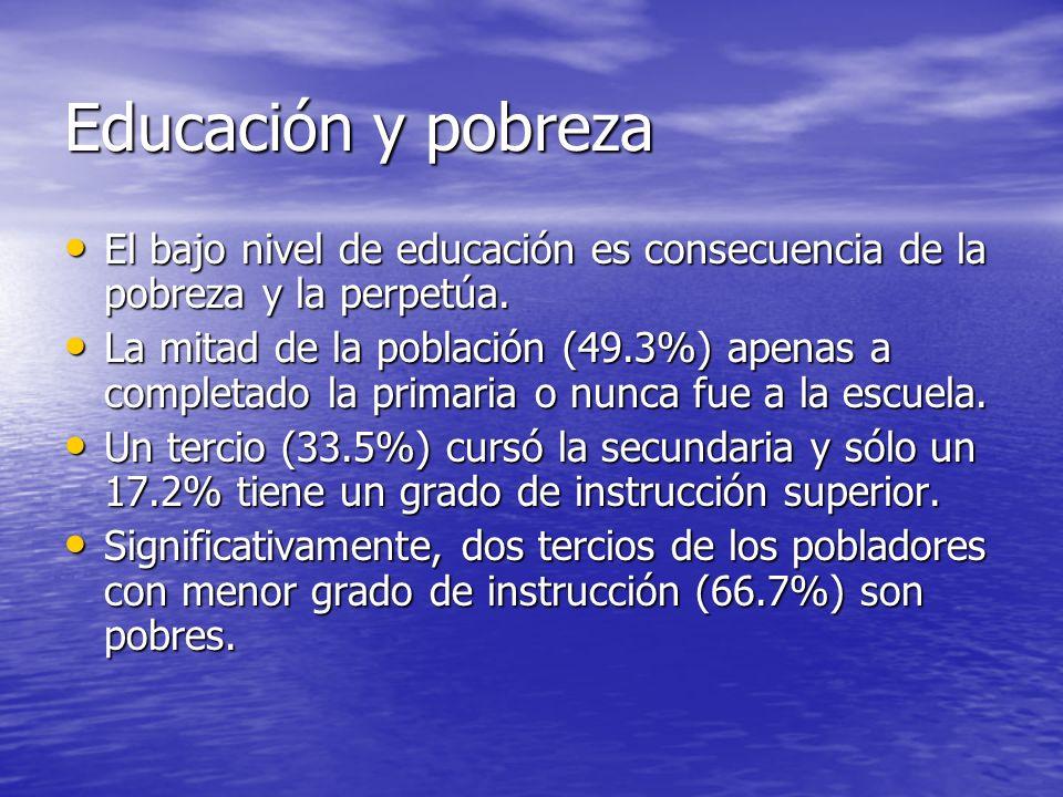 Educación y pobreza El bajo nivel de educación es consecuencia de la pobreza y la perpetúa.