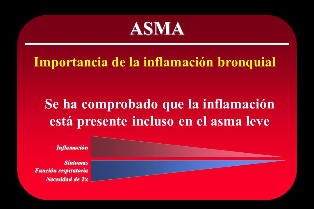 ASMA Importancia de la inflamación bronquial Se ha comprobado que la inflamación está presente incluso en el asma leve Inflamación Síntomas Función re